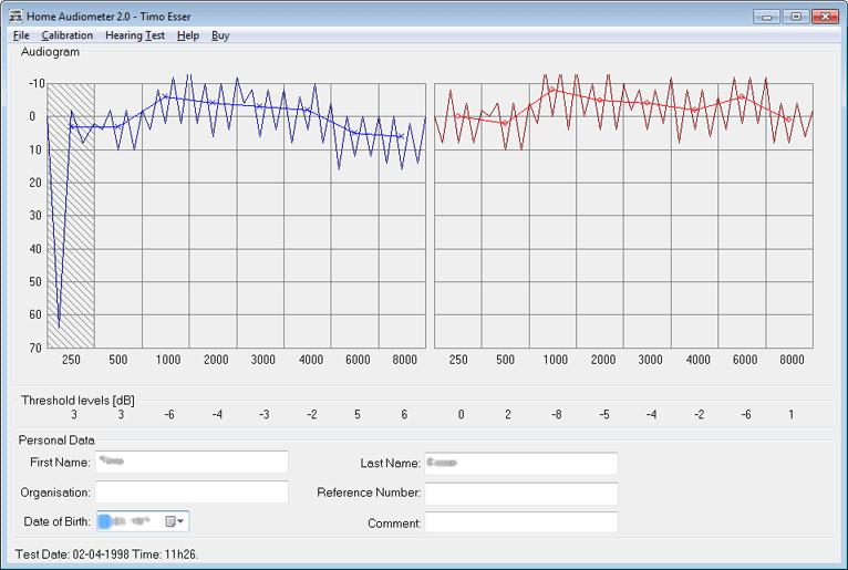 Home Audiometer Hearing Test Screenshot