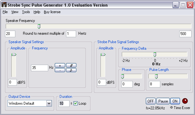 Click to view Strobe Sync Loudspeaker Test Software screenshots